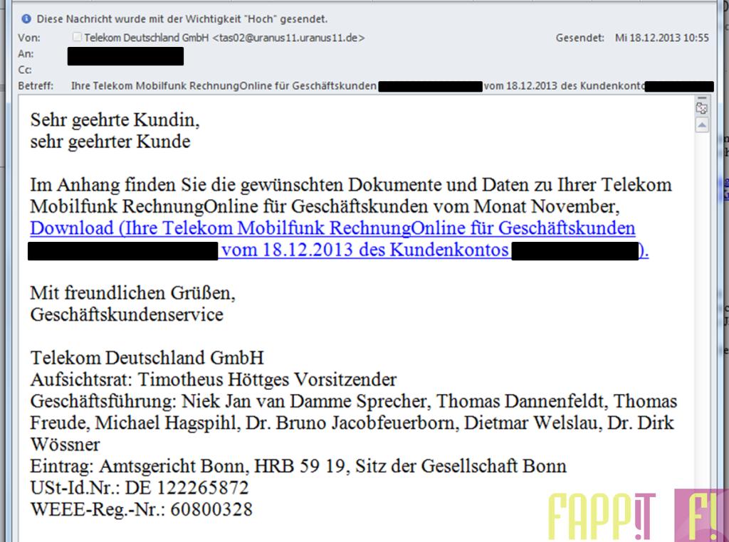 SPAM Falsche Deutsche Telekom Online Rechnung
