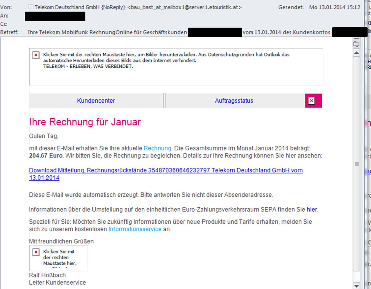 Fappit Down Spam Angeblich Deutsche Telekom Online Rechnung